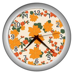 Vintage Floral Wallpaper Background In Shades Of Orange Wall Clocks (silver)  by Nexatart