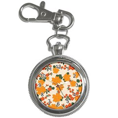 Vintage Floral Wallpaper Background In Shades Of Orange Key Chain Watches by Nexatart