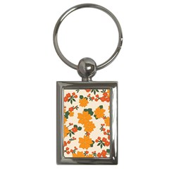 Vintage Floral Wallpaper Background In Shades Of Orange Key Chains (rectangle)