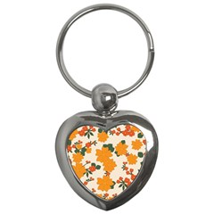 Vintage Floral Wallpaper Background In Shades Of Orange Key Chains (heart)  by Nexatart
