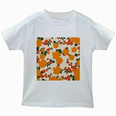 Vintage Floral Wallpaper Background In Shades Of Orange Kids White T Shirts