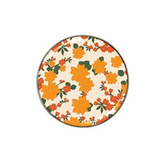 Vintage Floral Wallpaper Background In Shades Of Orange Hat Clip Ball Marker by Nexatart