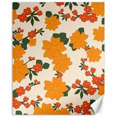 Vintage Floral Wallpaper Background In Shades Of Orange Canvas 16  X 20   by Nexatart