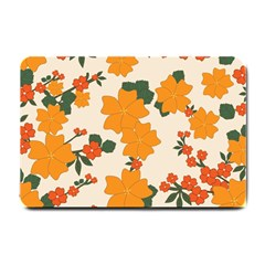 Vintage Floral Wallpaper Background In Shades Of Orange Small Doormat