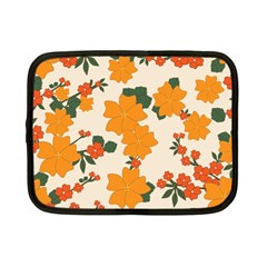 Vintage Floral Wallpaper Background In Shades Of Orange Netbook Case (small)  by Nexatart