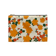 Vintage Floral Wallpaper Background In Shades Of Orange Cosmetic Bag (medium)  by Nexatart