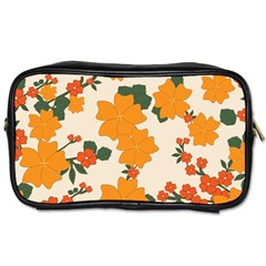 Vintage Floral Wallpaper Background In Shades Of Orange Toiletries Bags by Nexatart