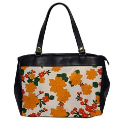 Vintage Floral Wallpaper Background In Shades Of Orange Office Handbags