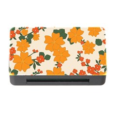 Vintage Floral Wallpaper Background In Shades Of Orange Memory Card Reader With Cf by Nexatart