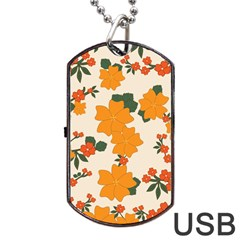 Vintage Floral Wallpaper Background In Shades Of Orange Dog Tag Usb Flash (two Sides) by Nexatart