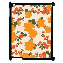 Vintage Floral Wallpaper Background In Shades Of Orange Apple Ipad 2 Case (black) by Nexatart