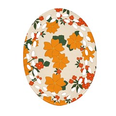 Vintage Floral Wallpaper Background In Shades Of Orange Ornament (oval Filigree) by Nexatart