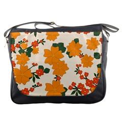 Vintage Floral Wallpaper Background In Shades Of Orange Messenger Bags