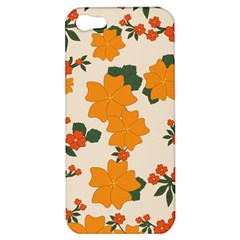 Vintage Floral Wallpaper Background In Shades Of Orange Apple Iphone 5 Hardshell Case by Nexatart