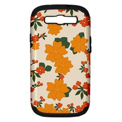 Vintage Floral Wallpaper Background In Shades Of Orange Samsung Galaxy S Iii Hardshell Case (pc+silicone) by Nexatart