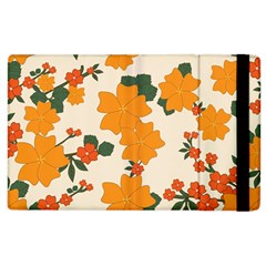 Vintage Floral Wallpaper Background In Shades Of Orange Apple Ipad 2 Flip Case by Nexatart