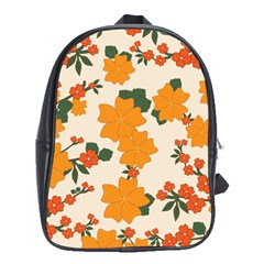 Vintage Floral Wallpaper Background In Shades Of Orange School Bags (xl)