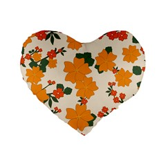 Vintage Floral Wallpaper Background In Shades Of Orange Standard 16  Premium Heart Shape Cushions by Nexatart