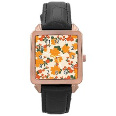 Vintage Floral Wallpaper Background In Shades Of Orange Rose Gold Leather Watch