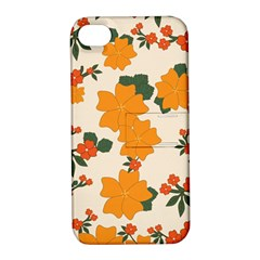 Vintage Floral Wallpaper Background In Shades Of Orange Apple Iphone 4/4s Hardshell Case With Stand by Nexatart