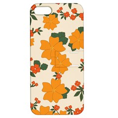 Vintage Floral Wallpaper Background In Shades Of Orange Apple Iphone 5 Hardshell Case With Stand by Nexatart