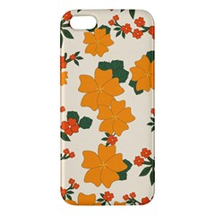 Vintage Floral Wallpaper Background In Shades Of Orange Apple Iphone 5 Premium Hardshell Case