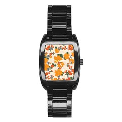 Vintage Floral Wallpaper Background In Shades Of Orange Stainless Steel Barrel Watch by Nexatart