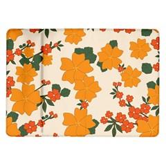 Vintage Floral Wallpaper Background In Shades Of Orange Samsung Galaxy Tab 10 1  P7500 Flip Case by Nexatart