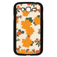 Vintage Floral Wallpaper Background In Shades Of Orange Samsung Galaxy Grand Duos I9082 Case (black)