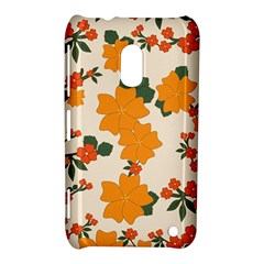Vintage Floral Wallpaper Background In Shades Of Orange Nokia Lumia 620