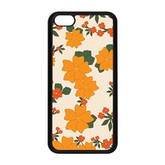 Vintage Floral Wallpaper Background In Shades Of Orange Apple Iphone 5c Seamless Case (black) by Nexatart
