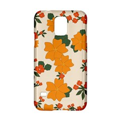 Vintage Floral Wallpaper Background In Shades Of Orange Samsung Galaxy S5 Hardshell Case  by Nexatart