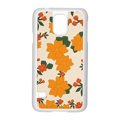 Vintage Floral Wallpaper Background In Shades Of Orange Samsung Galaxy S5 Case (white) by Nexatart