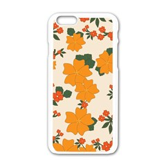 Vintage Floral Wallpaper Background In Shades Of Orange Apple Iphone 6/6s White Enamel Case