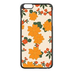 Vintage Floral Wallpaper Background In Shades Of Orange Apple Iphone 6 Plus/6s Plus Black Enamel Case by Nexatart