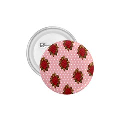 Pink Polka Dot Background With Red Roses 1 75  Buttons by Nexatart