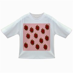 Pink Polka Dot Background With Red Roses Infant/toddler T Shirts