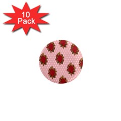Pink Polka Dot Background With Red Roses 1  Mini Magnet (10 Pack)