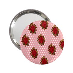 Pink Polka Dot Background With Red Roses 2 25  Handbag Mirrors by Nexatart