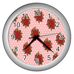 Pink Polka Dot Background With Red Roses Wall Clocks (silver)  by Nexatart