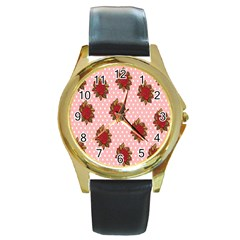 Pink Polka Dot Background With Red Roses Round Gold Metal Watch by Nexatart