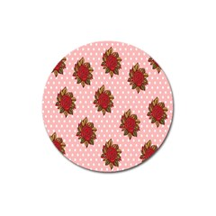 Pink Polka Dot Background With Red Roses Magnet 3  (round)