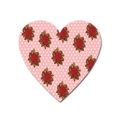Pink Polka Dot Background With Red Roses Heart Magnet by Nexatart
