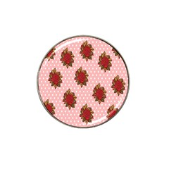 Pink Polka Dot Background With Red Roses Hat Clip Ball Marker (4 Pack) by Nexatart