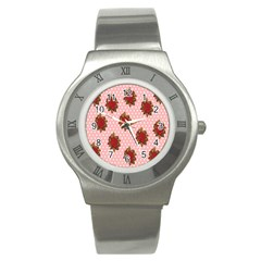 Pink Polka Dot Background With Red Roses Stainless Steel Watch by Nexatart