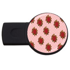 Pink Polka Dot Background With Red Roses Usb Flash Drive Round (4 Gb) by Nexatart