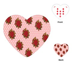 Pink Polka Dot Background With Red Roses Playing Cards (heart)  by Nexatart