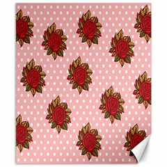 Pink Polka Dot Background With Red Roses Canvas 8  X 10  by Nexatart