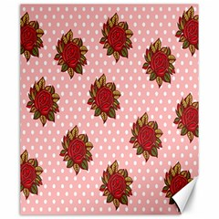 Pink Polka Dot Background With Red Roses Canvas 20  X 24