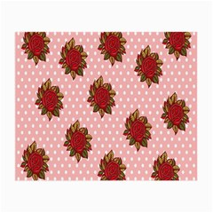 Pink Polka Dot Background With Red Roses Small Glasses Cloth (2 Side) by Nexatart